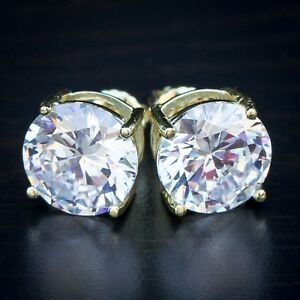 Mens Large Yellow Gold Sterling Silver Solitaire Lab Diamond Stud Screw Earrings