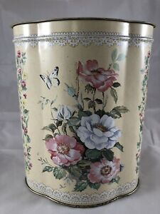 "Vintage Floral Flowers 7"" Biscuit Tin Made England"