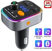 Wireless In-Car Bluetooth 5.0 FM Transmitter MP3 Radio Adapter Car USB Charger