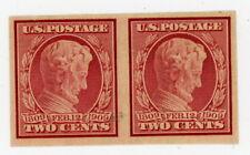 1909 Scott #368 2 cent Lincoln Horizontal Pair MINT NH OG Imperf VF/XF   #2 of 2