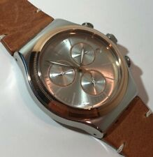 Swatch YVS412 Ladies/Mens Irony - Stainless w/Rose Gold Bezel - NEW
