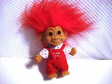 Russ I Love You Troll Doll with Red Overalls 18201 with Sticker on Foot
