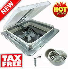 New RV Roof Vent Fan w/Butyl Install Kit 14in 12V Camper Trailer MotorHome 71112