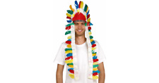 Indian Chief Long Feather Headdress Native American Costume Headpiece Feathers