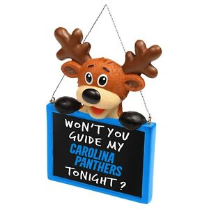 Carolina Panthers Reindeer with Sign - Resin Holiday Christmas Tree Ornament New
