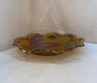 Vtg 40-50's Carnival Glass Amber Marigold Diamond Iridescent Server Platter Bowl