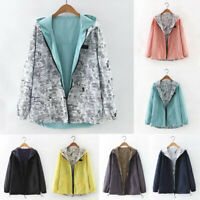Women Ladies Plus Size Coat Casual Solid Print Long Sleeve Hooded Jacket XS-3XL