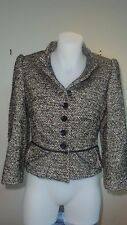 Women's black/Multi Karen Millen wool blend tweed peplum military jacket Size12