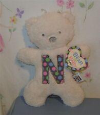 """Baby Ganz Initial """"N"""" Bear Plush 10"""" w/ tag"""