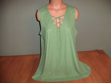 New Junior Womens Plus Size 2X Rue 21 Green Tank Top Shirt Tie Chest