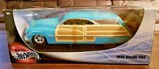 100% Hotwheels 1950 Mercury Woodie 1:18 w/Surfboard & Panel Sides Die Cast Car