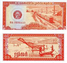CAMBODIA 5 Kak Banknote World Paper Money UNC Currency Pick p27 Train (0.5 Riel)