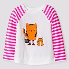 New ! Cat & Jack Toddler Girls' Halloween Cat Long Sleeve Shirt White Size 5T