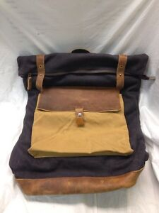 Cowhide Backpack Canvas Book Bag for Man and Women, Dark Grey, No Box L004 C