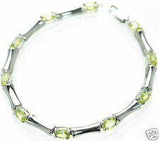 "Solid 925 Sterling Silver Genuine Peridot Bamboo Tennis Bracelet 7-1/4"" L '"