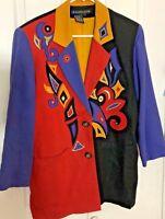IB Diffusion Vintage 1980's Red black blue Boho Linen Rayon Jacket 38x30 size 4