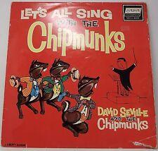 "DAVID SEVILLE & THE CHIPMUNKS : LET'S ALL SING WITH Vinyl LP Album 33rpm 12"" VG"