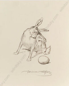 "Ferdinand Karl Gold (b.1882) ""Easter Bunny"", Lithograph, 1910s"