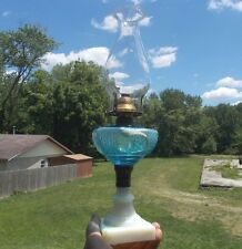ANTIQUE BLUE GLASS OIL LAMP WITH MILKGLASS BASE 1876 DATED COLLAR WORKING BURNER