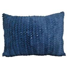"Faux Fur Saks Blue Sequin Embriodery 14x19"" Decorative Pillow Case/Cushion Cover"