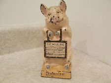 S25 VINTAGE CAST IRON COIN STILL PIGGY BANK THRIFTY THE WISE PIG PINK BROWN
