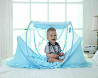 Portable Folding Baby Travel Bed Crib Summer Mosquito Net for Children Blue Colo