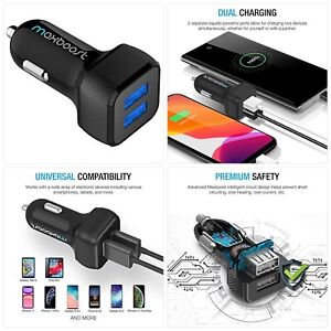 Maxboost Car Charger with SmartUSB Port 4.8A/24W [Black] Charger Adapter Compati