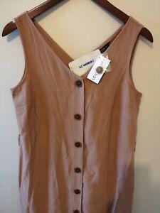 LC Waikiki Linen Brown Dress Front Button BNWT - Size 10