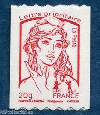 863a variété marianne Ciappa TVP rouge autodhesif de roulette sans N° noir