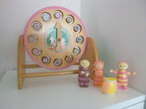 in the night garden wooden clock and plastic tombliboo figures