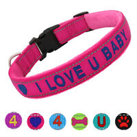 Embroidered Dog Collar Personalised Dog ID Name Plate Tag Collar Reflective