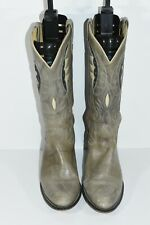 VINTAGE ACME WOMENS 7.5 M GRAY ROUND TOE ROPERS CLASSIC COWBOY BOOTS