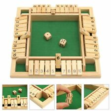 Wooden Shut the Box Four Sided 10 Number Pub Bar Board Dice Game Family Party