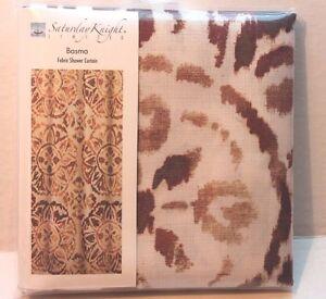 Saturday Knight Ltd. Basma Fabric Shower Curtain Brown Medallions on Ivory NEW