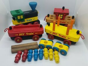 Vtg Montgomery Schoolhouse Wooden My Train Set Wood Trains Vermont All Parts EUC