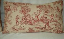 French Country Burgundy Toile Lumbar Decorative Accent Throw Pillow Cover 12x20