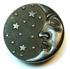 "Antique Horn Button Fun Crescent Moon Face & Stars Design 7/8""  Paris Back"