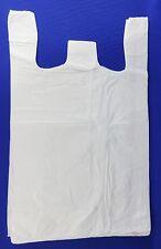 """500 Qty. White Plastic T-Shirt Retail Shopping Bags w/ Handles 18"""" x 8"""" x 30"""""""