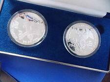 US END OF WORLD WAR II 50TH ANNIVERSARY 2 COINS 1TROY OUNCE OF.999 EACH