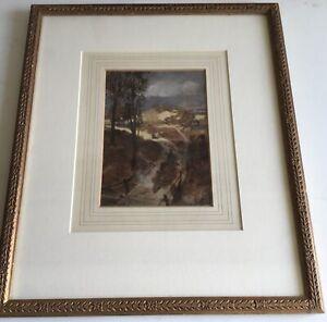 Antique D Farquharson Watercolour:' Sheep Herding along Lane': Framed.c30x36cm.