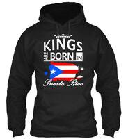 Puerto Rico Born Kings Man Flag Crown Star Stripes - Gildan Hoodie Sweatshirt