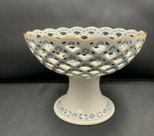 "Andrea By Sadek Blue White Pierced Pedestal Bowl Porcelain Gold Trim 5 1/4"" T"