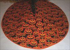 "Tabletop Halloween Tree Skirt ~ 22"" Spooky Pumpkin Faces ~ Custom Made"