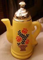 Vintage Avon yellow coffee pot perfume bottle, empty, for kitchen bath dresser