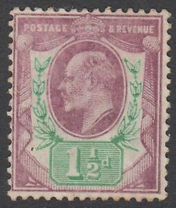 GB KEVII 1.1/2d Pale Dull Purple & Green SG223 Edward VII Mint Hinged 1905 Stamp