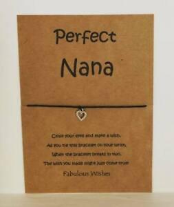 'Perfect Nana' Wish Bracelet Gift, Super Cute Tibetan Silver Heart Charm!