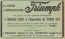 Y8207 Moto e Bici TRIUMPH - 2 G.P. a Torino - Pubblicità d'epoca - 1912 Old ad