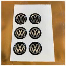 6 x 14mm 3D Epoxy Gel Resin Black VW Key Fob Remote Logo Badge Sticker