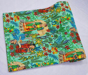Frida Kahlo Vintage Hand Made Indian Kantha Quilt Bed Spread Throw Twin Size