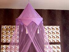Púrpura Corona tassle Cama Mosquito Net Individual Doble Insecto Mosca protección dosel